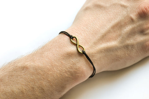 Infinity bracelet for men, black cord - shani-adi-jewerly