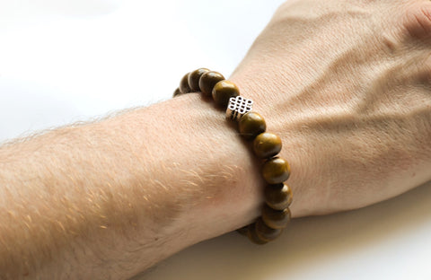 Silver Infinity bracelet with wood beads for men - shani-adi-jewerly