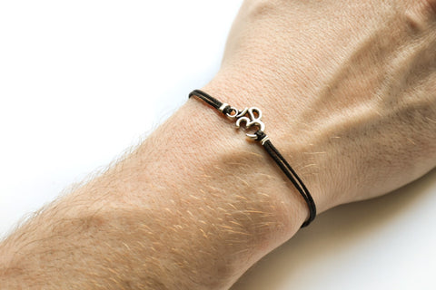 OM bracelet, men's bracelet with Tibetan silver Om charm, Hindu, black cord, bracelet for men, gift for him, yoga bracelet, groomsman gift