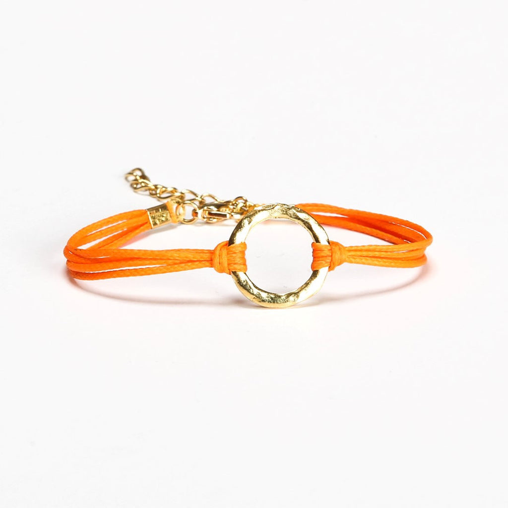 Orange cord bracelet with a gold circle charm - shani-adi-jewerly