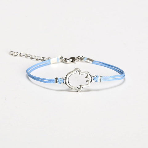Blue cord bracelet with silver Hamsa charm - shani-adi-jewerly