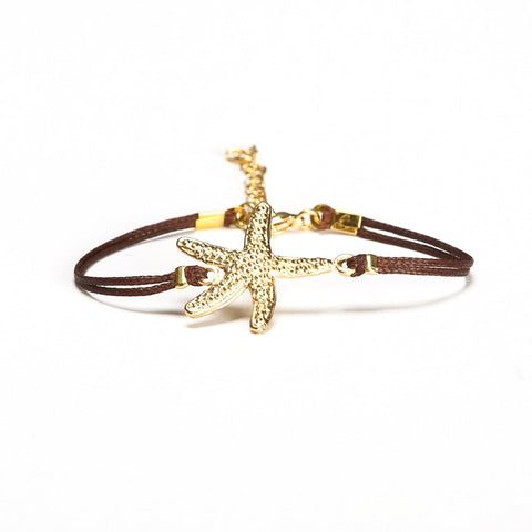 Gold starfish bracelet, brown cord - shani-adi-jewerly