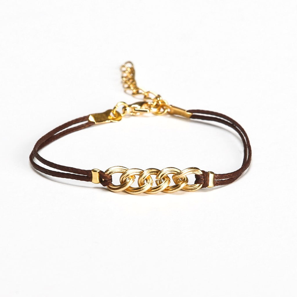 Brown cord bracelet with a gold chunky chain - shani-adi-jewerly