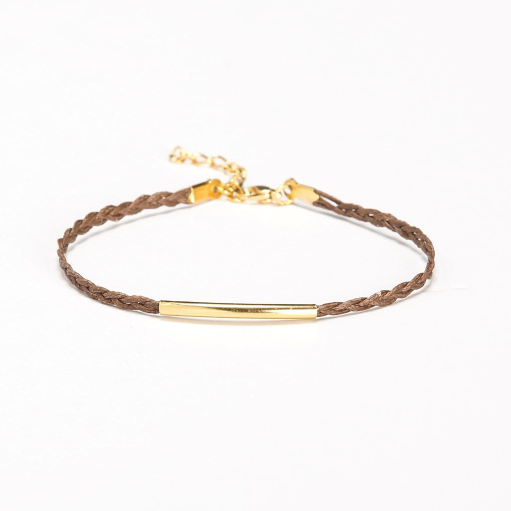 Braided cord ankle bracelet with a gold plated tube - shani-adi-jewerly