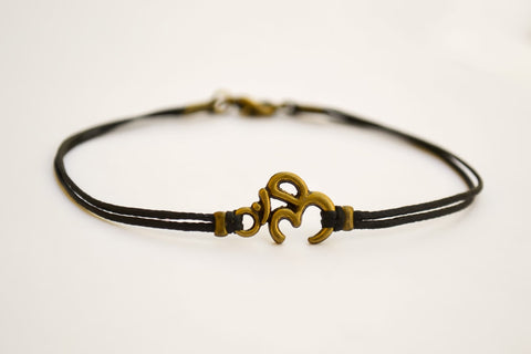 Men's bracelet with bronze tone brass Om charm - shani-adi-jewerly