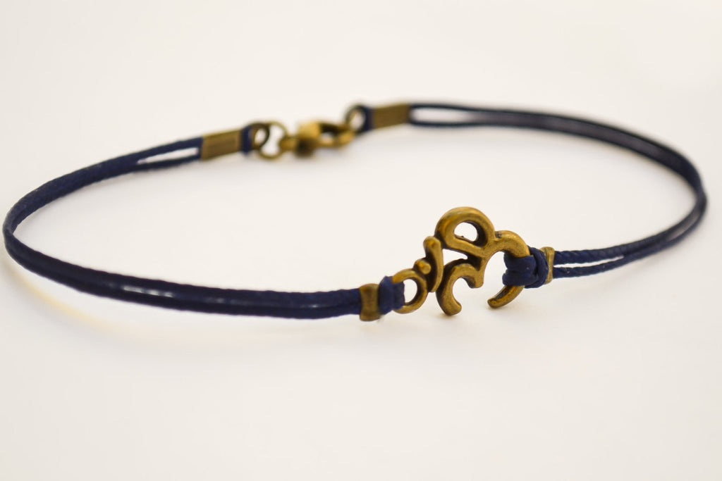 Bronze Om bracelet for men, blue cord - shani-adi-jewerly