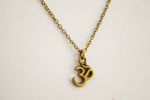Bronze Om chain necklace for men - yoga necklace - shani-adi-jewerly