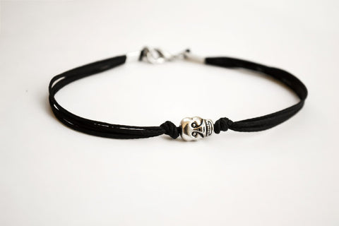 Skull bracelet, men's bracelet with a silver skull charm and a black cord, bracelet for men, gift for him, skeleton, causal jewelry, beach