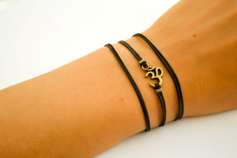Wrapped bracelet with bronze tone Om charm - shani-adi-jewerly