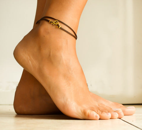 Gold Om wrap anklet, brown cord ankle bracelet - shani-adi-jewerly
