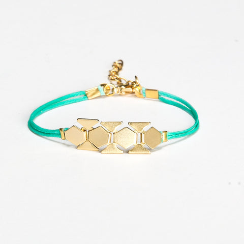 Turquoise cord bracelet with a gold chunky flat chain - shani-adi-jewerly