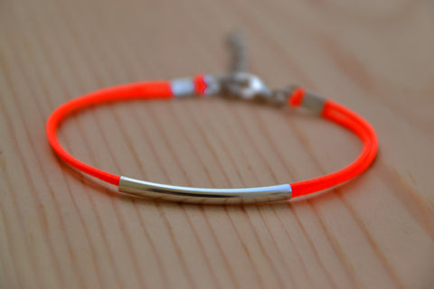 Silver bar bracelet, bright peach cord bracelet with silver plated tube, stack bracelet, minimalist jewelry, gift for her, stocking stuffer