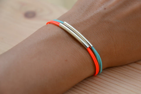 Bar bracelets, silver long tube charms, turquoise bracelet, bright peach bracelet, minimalist jewelry, stack bracelets, gift for girlfriend