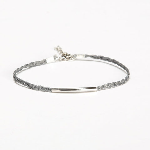 braided cord ankle bracelet with a silver tube - shani-adi-jewerly