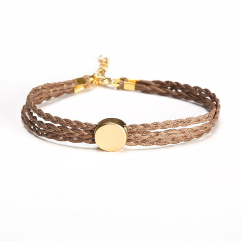 Braided ankle bracelet with a gold round bead - shani-adi-jewerly