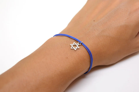 Star of David bracelet, blue cord - shani-adi-jewerly