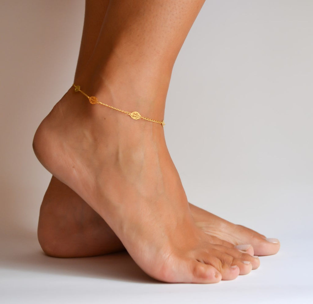 Dainty anklet, 24k gold plated chain ankle bracelet with leaves charms - shani-adi-jewerly