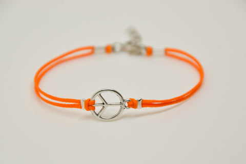 Peace bracelet, orange cord bracelet with silver peace charm, hippie bracelet, gift for her, minimalist jewelry, beach, yoga, summer, orange