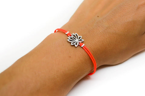 Bright peach cord bracelet with silver lotus charm - shani-adi-jewerly