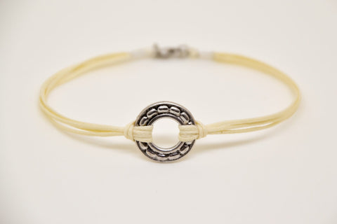 silver karma bracelet for men, beige cord - shani-adi-jewerly