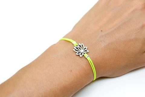 Neon yellow cord bracelet with silver lotus charm - shani-adi-jewerly