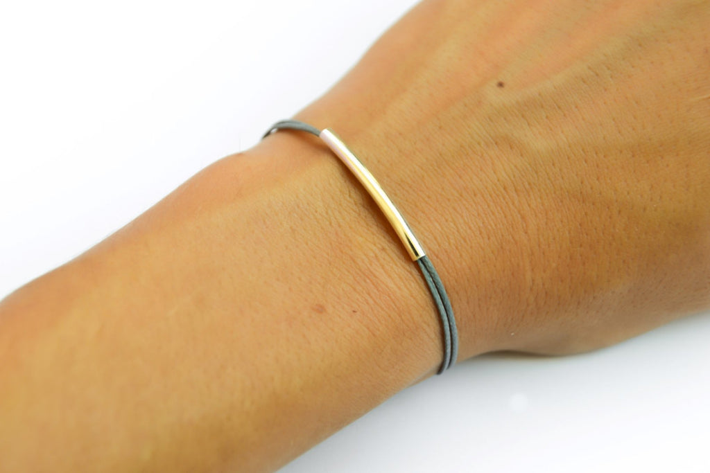 Gray cord bracelet with a silver plated tube - shani-adi-jewerly
