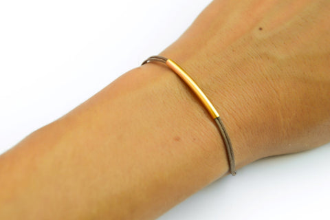 Gold bar bracelet, cord bracelet, gold tube bar, brown cord. elegant bracelet. brown stack bracelet, gift for her, minimalist jewelry