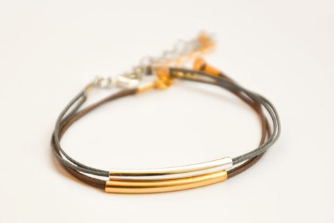Silver and gold plated tube charms bracelets, gray and brown cords - shani-adi-jewerly