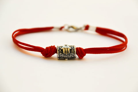 Red Kabbalah Hamsa bracelet for men, red string, Hand and fish on silver bead - shani-adi-jewerly