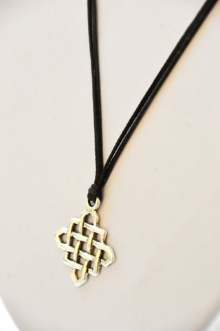 Infinity necklace, silver celtic endless knot pendant and black cord, silver charm, gift for her, spiritual jewelry, yoga, minimalist