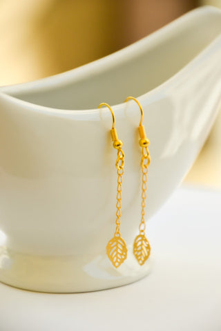 24k gold plated leaves earrings - shani-adi-jewerly