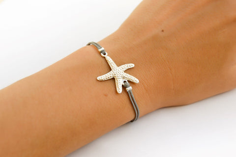 Starfish bracelet, gray cord - shani-adi-jewerly