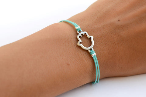 Hamsa bracelet, turquoise cord bracelet with a silver hamsa charm, judaica from Israel, gift for her, hand charm, spiritual jewelry