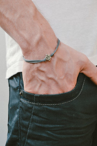 Infinity bracelet for men with gray cord