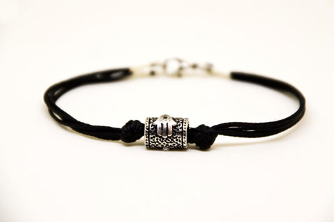 Hamsa Tube bracelet for men, black cord - shani-adi-jewerly