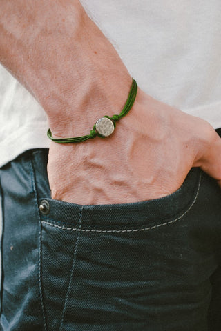 Green cord bracelet for men with a silver round charm - shani-adi-jewerly