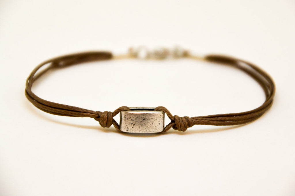Cord men's bracelet with silver square bead - shani-adi-jewerly