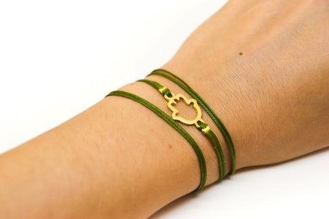Wrap green cord bracelet with gold hamsa charm - shani-adi-jewerly