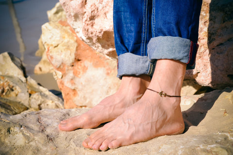 Bronze anchor anklet for men, brown cord
