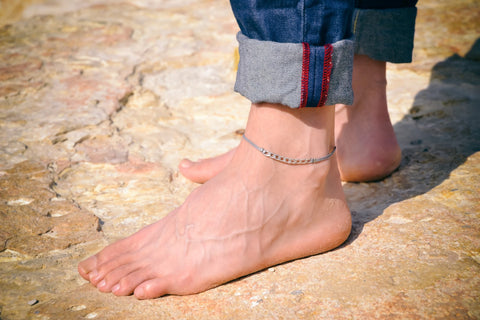 Men's anklet with a silver flat chain and a gray cord - shani-adi-jewerly