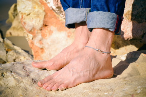 Men's anklet with a silver infinity charm and a gray cord - shani-adi-jewerly
