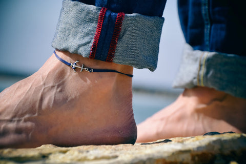 Men's anklet with a silver anchor, blue cord - shani-adi-jewerly