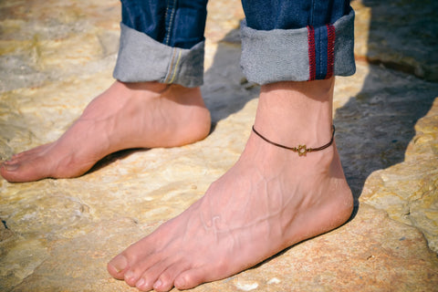 Men's anklet with bronze Star of David, brown cord - shani-adi-jewerly