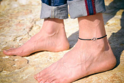 Silver Star of David Anklet for men, black cord - shani-adi-jewerly