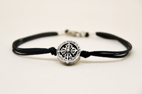 Silver circle bracelet for men, black cord