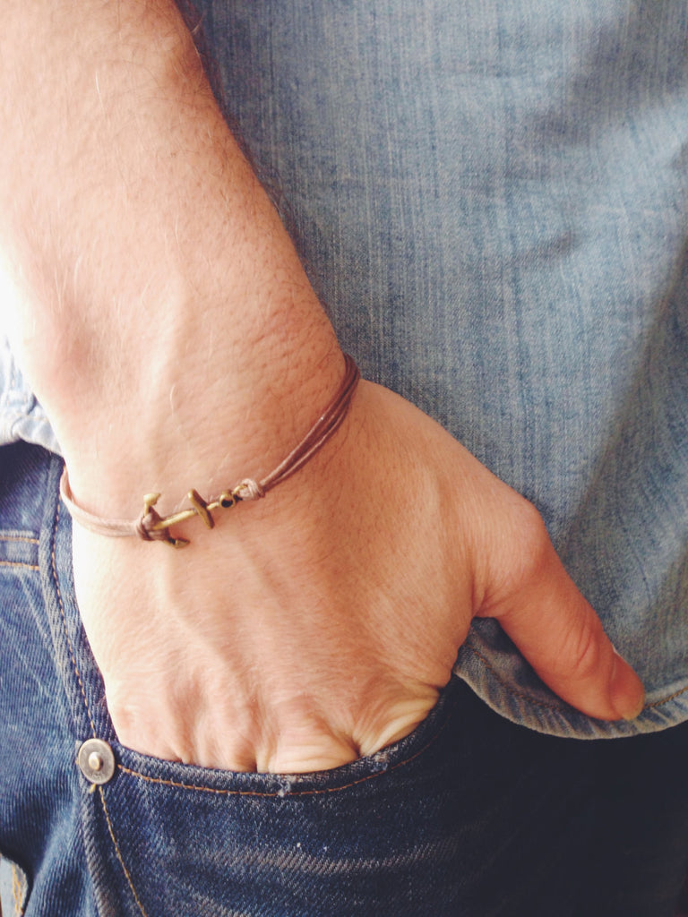 Bronze anchor bracelet for men, brown cords