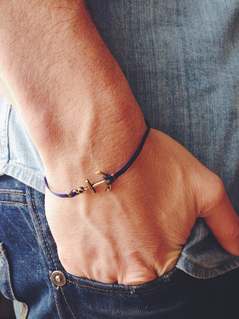 Bronze anchor bracelet for men, blue cord