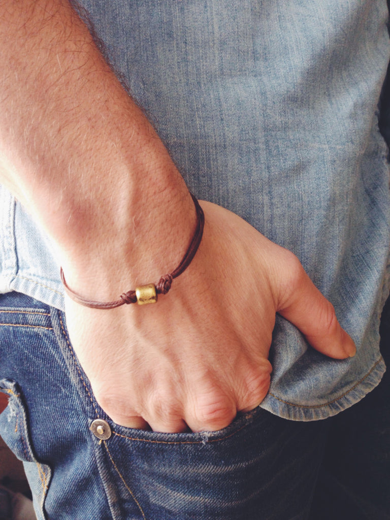 Bronze tube bracelet for men, brown cord