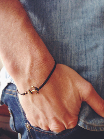 Bronze anchor bracelet for men with black cord, nautical surfer jewelry