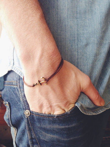 Brown cords bronze anchor bracelet for men